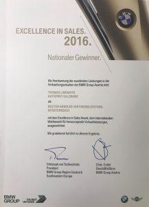 Bild Thomas Linemayr ist Gewinner des BMW-Sales-Award 2016